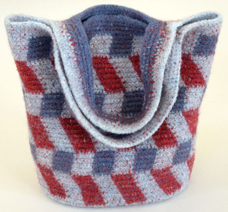 "Felted Trail Ridge Tote, 12"" wide x 13""high (without the handle)."