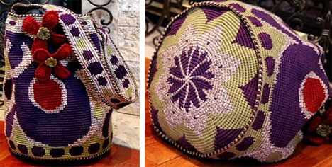 M Ruska, Purple Cats Eye Lucky Charm Drawstring Bag, May 2012.