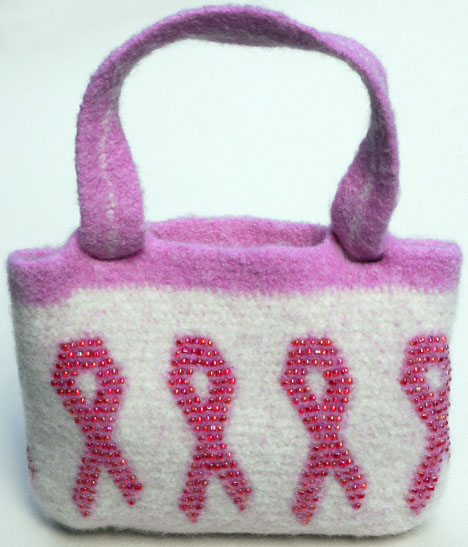 Bead Felted Awareness Purse