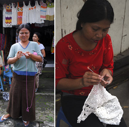 Crocheters in Bali