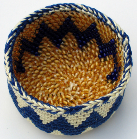 Bead tapestry crochet basket