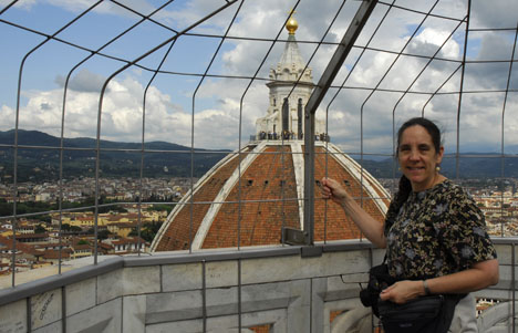 Carol Ventura on top of Giotto's Tower in Florence