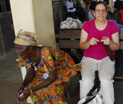 Carol tapestry crocheting in Ghana