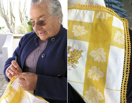 Crocheting a Border at San Quintino