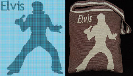 Elvis Graph and Tapestry Crochet Bag