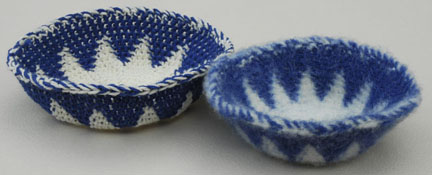 Tapestry Crochet Baskets Before and After Felting