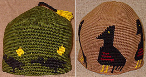 Joel's Bird Motif Hats