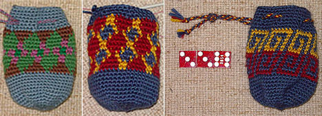 Joel's Tapestry Crocheted Dice Bags