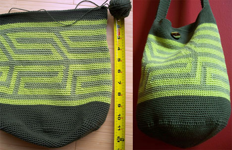 La Guapa's green tapestry crochet bag