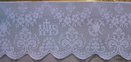 Detail of a Filet Crochet Altar Cover