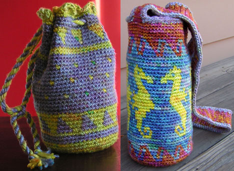Pippi's silk tapestry crocheted bags.