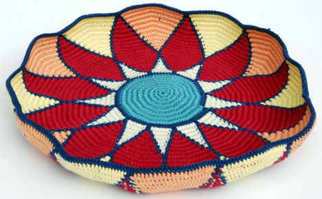 Sunburst Tapestry Crochet Basket before blocking