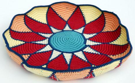 Sunburst Tapestry Crochet Basket before blocking