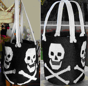 Two Tapestry Crochet Skull Bags