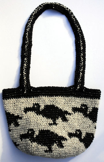 Tapestry crocheted Vulture Purse before it was felted