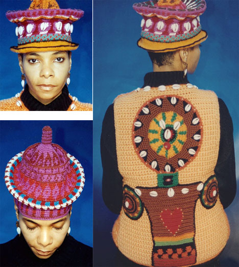 Wanda's tapestry crochet hats and vest
